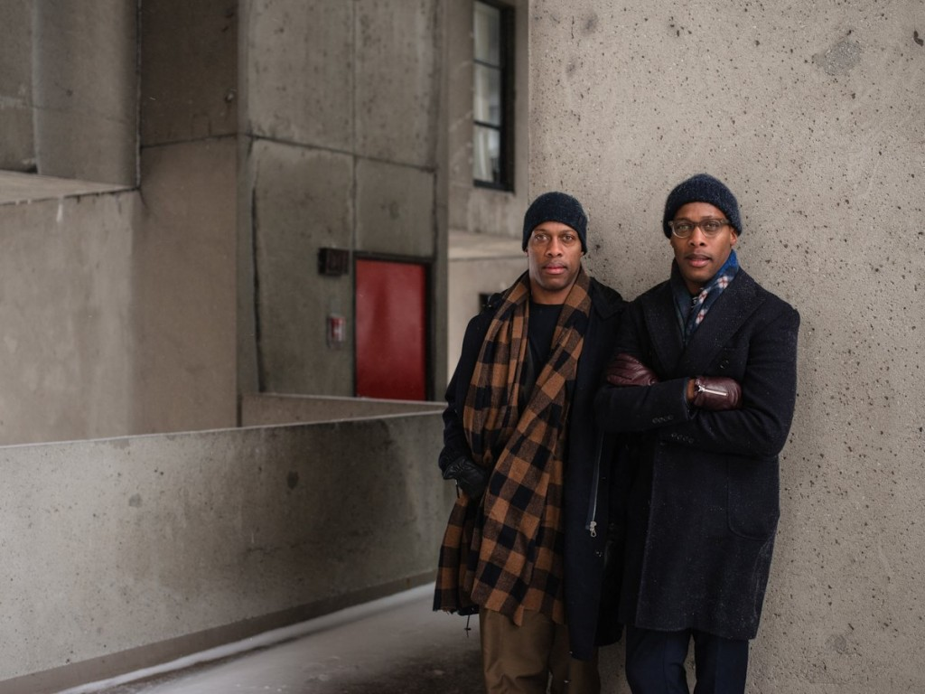 Byron and Dexter outside the famous Habitat 67 residence in Montreal | Alexi Hobbs